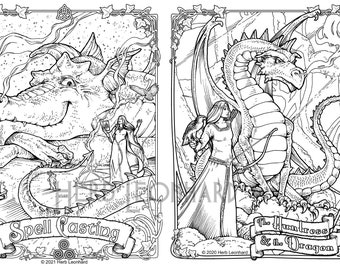 Dragon Coloring Pages, 2 designs: Spell Casting/The Huntress & the Dragon. Herb Leonhard, Digital Coloring pages, PDF Download