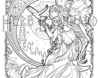 Herb Leonhard Adult Coloring Page Faerie Nouveau Book Digital Instant PDF Download Printable