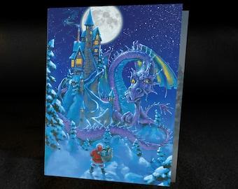 DRAGON CHRISTMAS CARD Santa's Dilemma Set of 6 cards with Envelopes, graphic interior, Fantasy cards