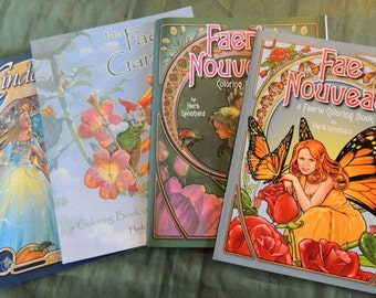 Four Fairy coloring books by Herb Leonhard~Fairy and Fantasy coloring books in the Art Nouveau style, Set of four