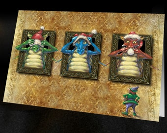 DRAGON CHRISTMAS CARD 3 Santa Dragons Set of 6 cards with Envelopes, graphic interior, Fantasy cards