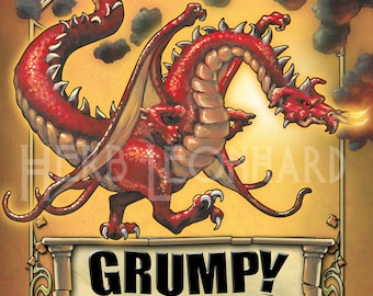 """Grumpy Dragon, 8""""x10"""" print, Gifts for her, Gifts for kids, Gifts for him, art prints"""