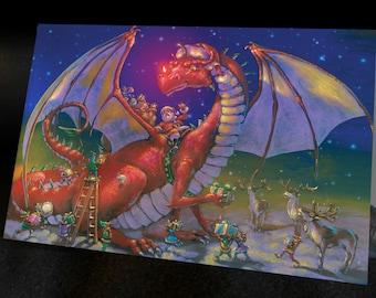 DRAGON CHRISTMAS CARD Santa's Big Helper Set of 6 cards with Envelopes, graphic interior, Fantasy cards