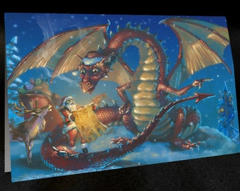 DRAGON CHRISTMAS CARD Asking for Directions Set of 6 cards with Envelopes, graphic interior, Fantasy cards