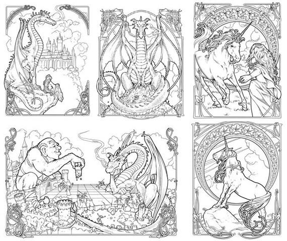 Dragón y el Unicornio para colorear libro Nouveau de | Etsy