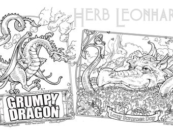 Grumpy Dragon/Lazy Summer Dragon 2 Adult Coloring Pages, Herb Leonhard, Digital Coloring pages, Instant PDF Download, Printable Color