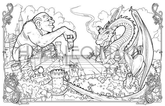 Herb Leonhard Adult Coloring Page, Fantasy Nouveau Coloring Book page,  Digital Coloring page, Instant PDF Download, Printable Coloring