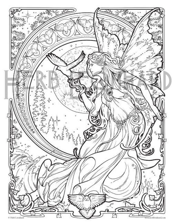 Herb Leonhard Adult Coloring Page, Faerie Nouveau Coloring Book page,  Digital Coloring page, Instant PDF Download, Printable Coloring