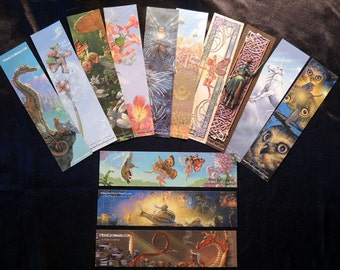 Bookmarks, Fairy Fantasy bookmarks, illustrated bookmarks. SET of 13 BOOKMARKS Featuring the ART of Herb Leonhard