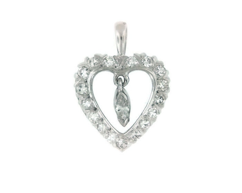 9bf4bbfaff0 Stunning Estate Diamond Heart Pendant 14 kt White Gold Featuring 18  Gorgeous Diamonds Including a Larger Center Marquise Diamond 18.5 mm