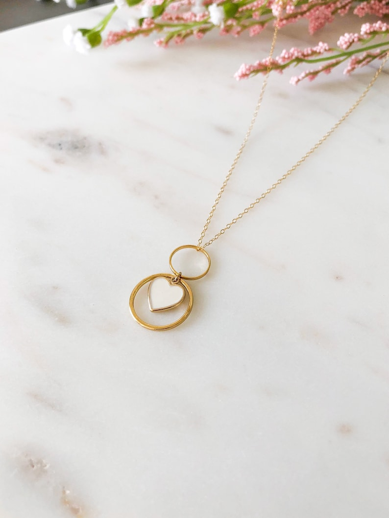 Gift for Her 14K Gold Fill Geometric Heart Charm Necklace