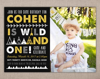 Wild And One Printable Birthday Invitation Where The Wild Etsy