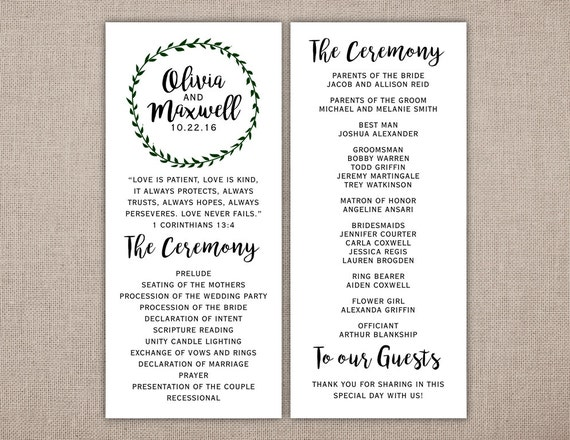wedding program printable card ceremony information etsy