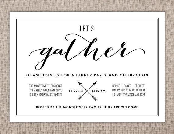 Wir sammeln Dinner-Party-Einladung Probe-Dinner-Einladung | Etsy