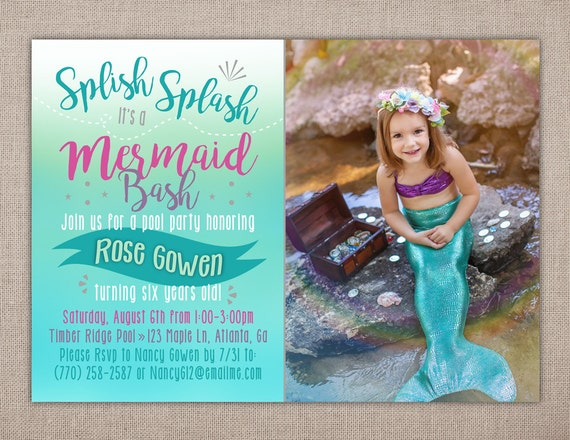 MERMAID BIRTHDAY PARTY Printable Invitation Mermaid Photo