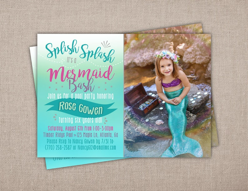 MERMAID BIRTHDAY PARTY Printable Invitation Mermaid Photo