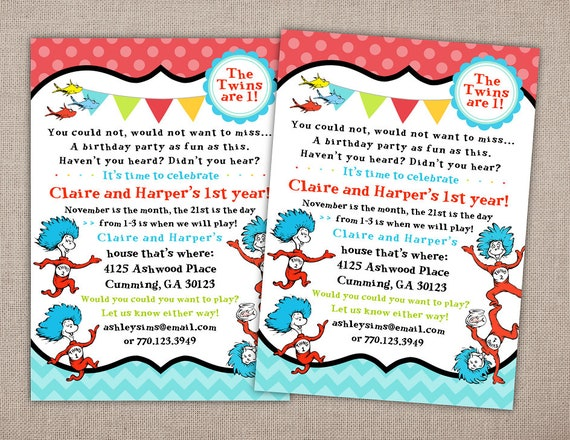THING 1 AND 2 Birthday Party Invitation Thing