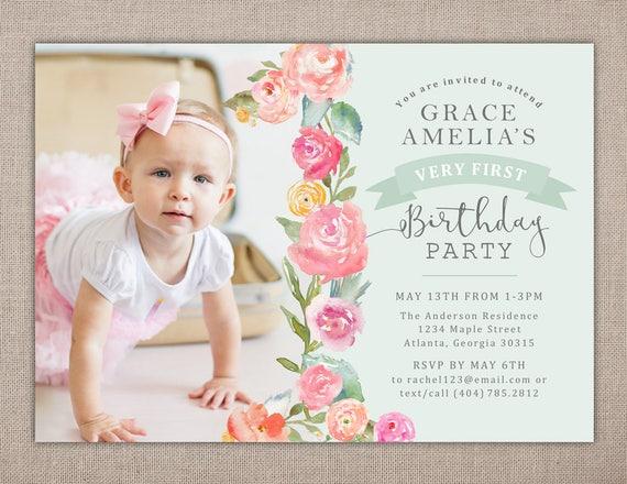 1ST BIRTHDAY PARTY Printable Invitation Shabby Chic