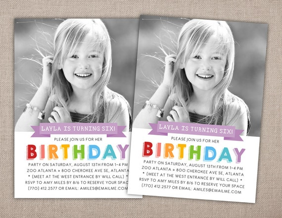 CHILD BIRTHDAY PARTY Printable Invitation With Photo Simple