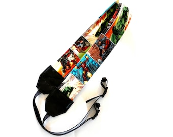 Marvel Comic, Avengers Superhero Comic Panel DSLR Camera Strap! This is a full strap not a cover! Standard Size