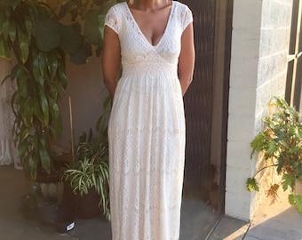 e8a649c98b625 boho ivory EYELASH LACE maxi DRESS. hippie hippy long bohemian wedding dress.  banded waist. small medium large xl