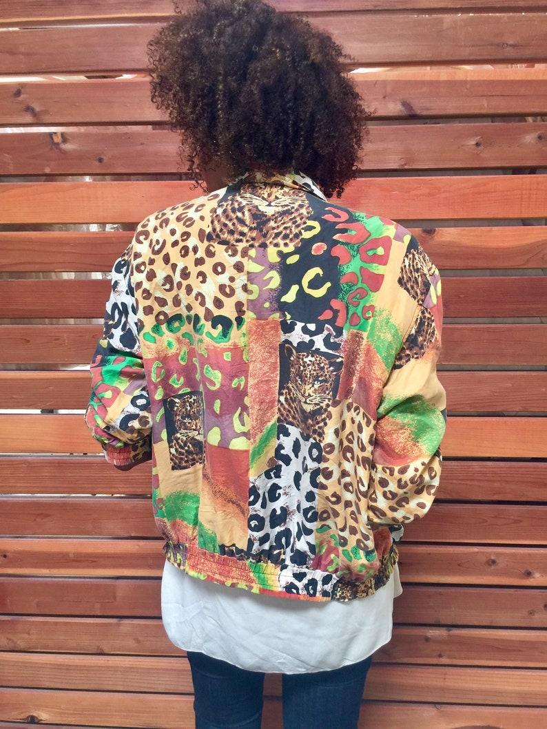 ca7611032 vintage leopard print SILK women's jacket. multicolor lightweight oversized  silk bomber TIGER FACES jacket | 90s blazer jacket | size medium