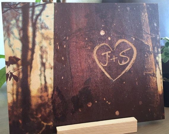 Engraved Initials Keepsake on Wood Print of a Tree Bark, 5th Anniversary Gifts, Newly Wed Gifts, Custom Initial Wall Decor