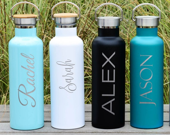 Custom Insulated Stainless Steel Water Bottle 25oz Premium Bottle | Elemental Personalized Text Bottles | Christmas Gifts | Employee Gifts