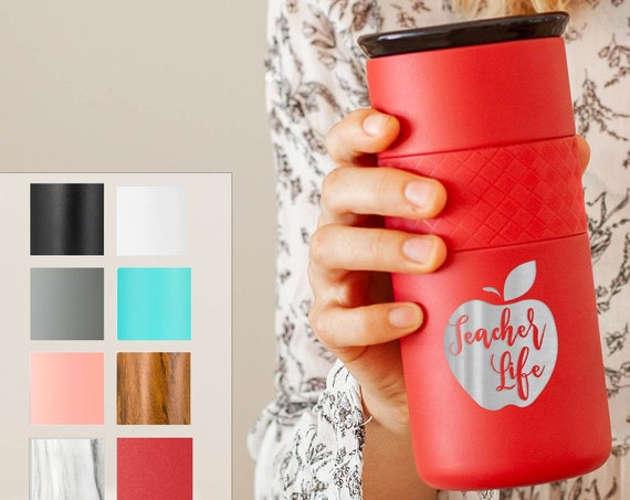 Personalized Laser Engraved, Insulated Stainless Steel Coffee Tumbler 16oz with CERAMIC Lid - 6hrs hot | 18 hrs cold | Teacher Appreciation