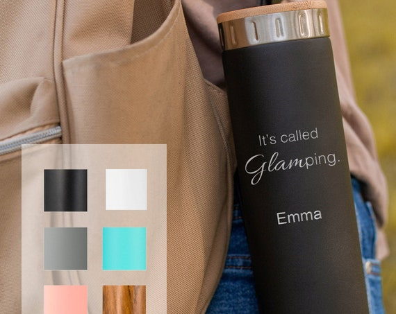 Glamping Personalized Gift Stainless Steel Water Bottle 20oz   Elemental Iconic Insulated Bottes   Best Gift for Birthdays and Holidays