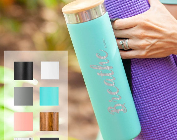 Yoga Bottle Personalized Stainless Steel Water Bottle 20oz   Elemental Iconic Insulated Bottes   Best Gift for Fitness Lovers Birthday