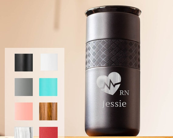Gift for Nurse Personalized Insulated Stainless Steel Coffee Tumbler 16oz with CERAMIC Lid - 6hrs hot   18 hrs cold   Birthdays, Doctor Gift