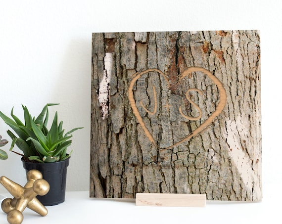 Engraved Initial Wood Print, 5th anniversary print, Tree Bark Initials, Wood Keepsake, initials tree, holiday wall decor, personalized