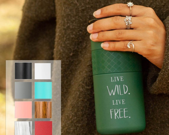 Personalized Tumbler, Insulated Stainless Steel Coffee Tumbler 16oz with CERAMIC Lid - 6hrs hot|18 hrs cold| Best Gift for Campers, Glampers