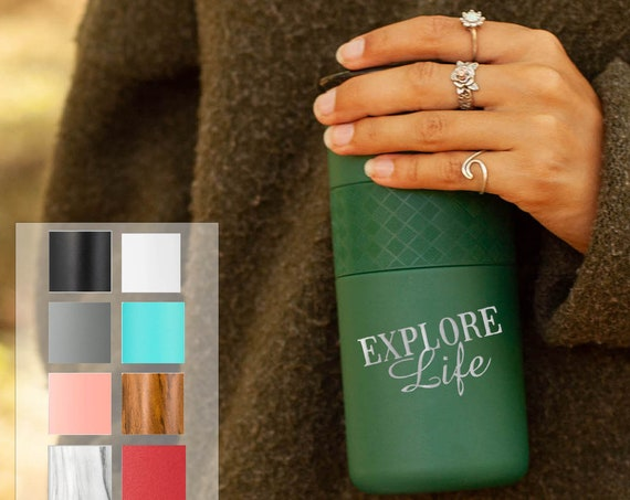 Personalized Insulated Tumbler, Stainless Steel Coffee Tumbler 16oz with CERAMIC Lid - 6hrs hot|18 hrs cold| Glamping, Best Gift for Campers