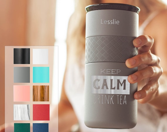 Customized Coffee Tumbler Insulated Stainless Steel Tumbler 16oz with CERAMIC Lid - 6hrs hot |18 hrs cold| Best Gift for Coffee Fans