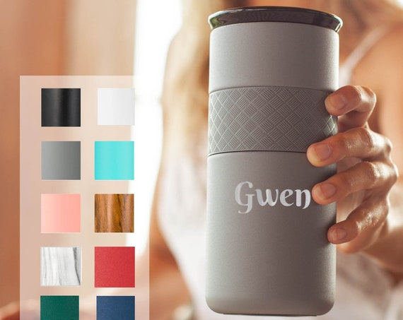 Custom Name Tumbler, Personalized Gift, 16 oz Hot and Cold Coffee Tumbler, Ceramic Lid, Stainless Steel Laser Engraved Tumbler