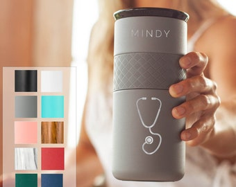 Personalized Nurse Gift Insulated Stainless Steel Coffee Tumbler 16oz with CERAMIC Lid - 6hrs hot | 18 hrs cold | Gift for Doctor, Birthdays