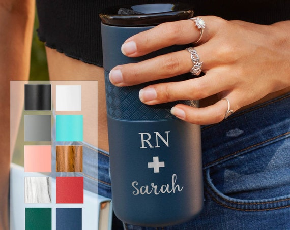 Custom Engraved Tumbler for Nurse Insulated Stainless Steel Coffee Tumbler 16oz with CERAMIC Lid - 6hrs hot | 18 hrs cold | Doctor Gift