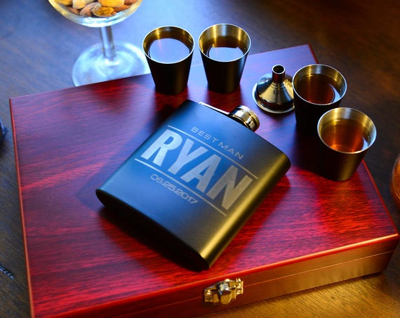 Personalized Flask Wooden Gift Set   groomsmen flask   name on flask   wedding party gift   best man gift   black flask   FSW001