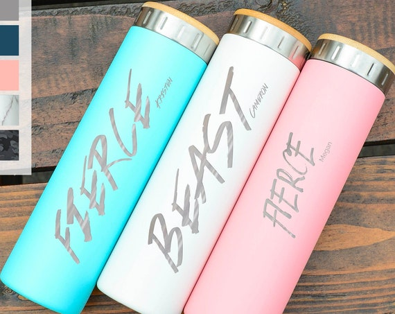 Personalized Water Bottle Stainless Steel Water Bottle 20oz | Elemental Iconic Insulated Bottes | Best Gift for Fitness Lovers Birthday