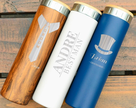 Customized Engraved Bottles, Stainless Steel 20oz | Wedding Gifts for Groomsmen | Elemental Iconic Insulated Bottes | Wedding Planning
