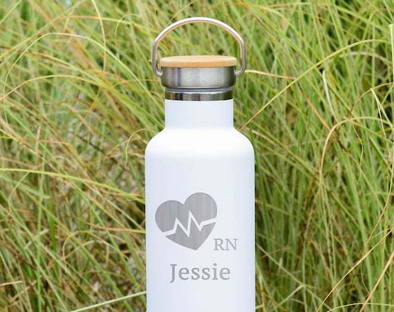 Custom Engraved Heartbeat RN Design with Personalized Name on Insulated Stainless Steel Water Bottle 25oz | Registered Nurse Gifts | Nurses