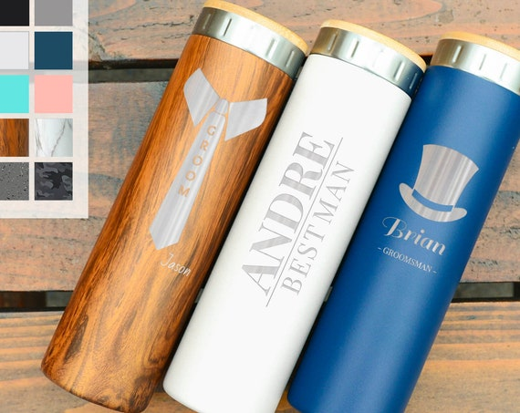 Personalized Wedding Gift For Groomsmen Stainless Steel Water Bottle 20oz | Elemental Iconic Insulated Bottes | Best Gift for Groomsmen