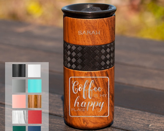 Personalized Coffee Tumbler Gift Insulated Stainless Steel Tumbler 16oz with CERAMIC Lid - 6hrs hot |18 hrs cold| Best Gift for Coffee Fans