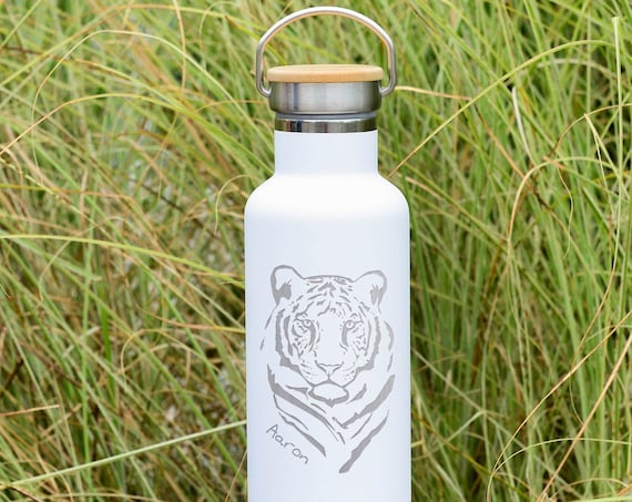 Personalized Text on Double Walled Stainless Steel Water Bottle with Tiger Design 25oz | Personalized Christmas Gifts | Birthday Gifts