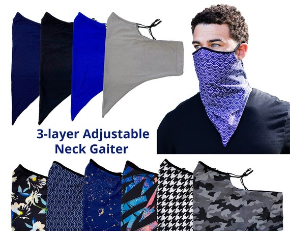 Adjustable Ear Loops Patterned Neck Gaiter  Mask With 3 Layers of Fabric and Filter Pocket, Nose Contour, Cooling Moisture Wicking, Unisex