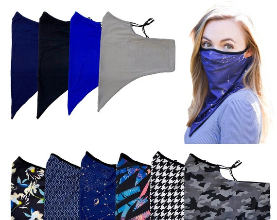 Adjustable Ear Loops Neck Gaiter  Mask With 3 Layers of Fabric and Filter Pocket, Nose Contour, Cooling Moisture Wicking, Adult Unisex