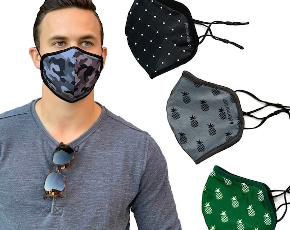 Variety 4 Pack Adjustable Face Masks - Black Camo - Pineapple - Polka Dots, Comfortable Fit, Moisture Wicking Masks with Filter Pocket