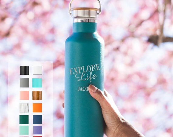 Adventurous Personalized Stainless Steel Water Bottle - Custom Laser Engraved 25oz Double Walled Vacuum Insulated Bottle | Beach life | Camp